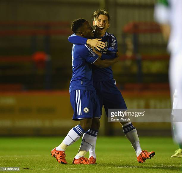Chelsea's Kevin Wright celebrates his goal with Charlie Colkett during a Premier League International Cup match between Chelsea U21 and Celtic U21 at...