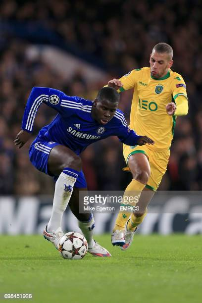 Chelsea's Kurt Zouma and Sporting Lisbon's Islam Slimani battle for the ball