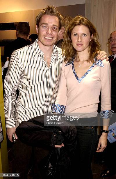Chelsea's Leftback Graham Lesaux And His Wife Shows Off The Black Eye He Got From Teddy Sheringham Designs Of The Times Auction Launch Party At The...