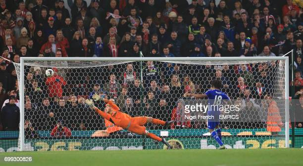 Chelsea's Loic Remy scores his penalty past Stoke City goalkeeper Jack Butland