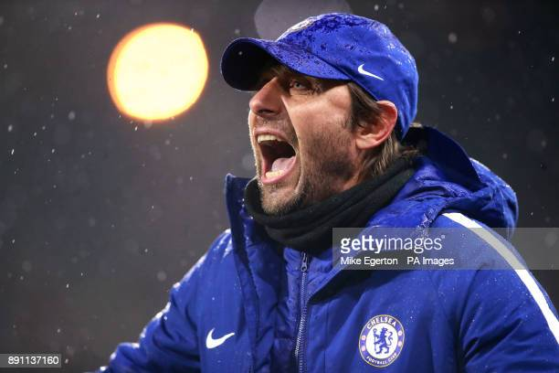 Chelsea's manager Antonio Conte during the Premier League match at the John Smith's Stadium Huddersfield