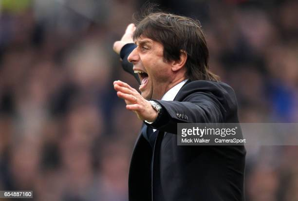 Chelsea's Manager Antonio Conte during the Premier League match between Stoke City and Chelsea at Bet365 Stadium on March 18 2017 in Stoke on Trent...
