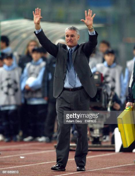Chelsea's Manager Claudio Ranieri acknowledges the Chelsea fans after the game