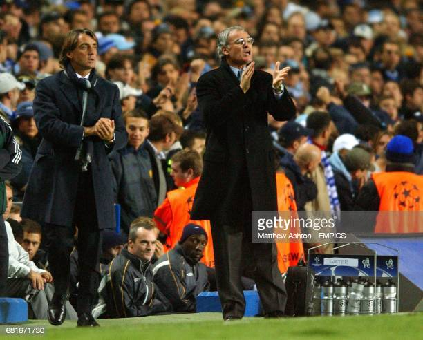 Chelsea's manager Claudio Ranieri and Lazio's manager Roberto Mancini urge on their teams