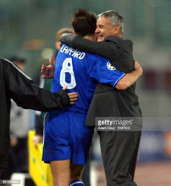 Chelsea's Manager Claudio Ranieri hugs Frank Lampard after the final whistle
