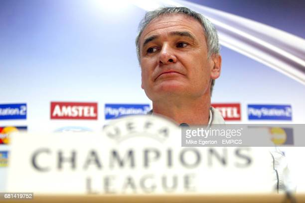 Chelsea's manager Claudio Ranieri listens to questions from the press