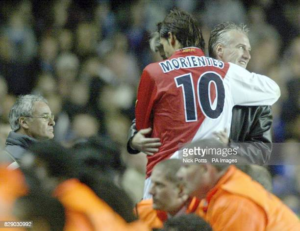 Chelsea's Manager Claudio Ranieri shows dejection as Monaco goalscorer Morientes huged coach Didier Deschamps during their UEFA Champions League...