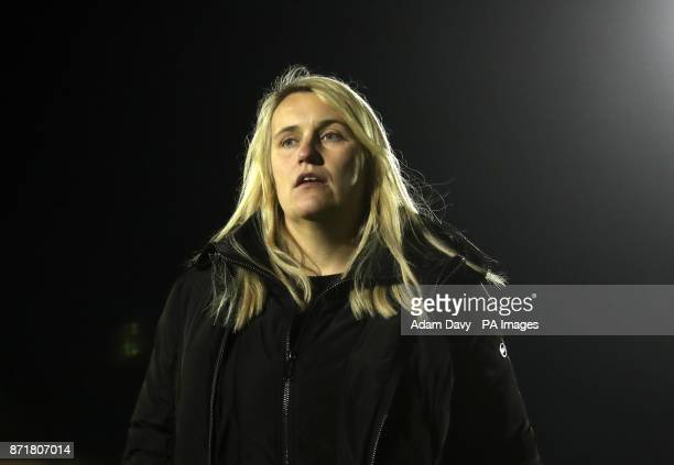 Chelsea's Manager Emma Hayes during the UEFA Women's Champions League Last 16 First Leg match at the Cherry Red Records Stadium London