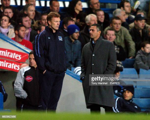Chelsea's manager Jose Mourinho and Everton's manager David Moyes