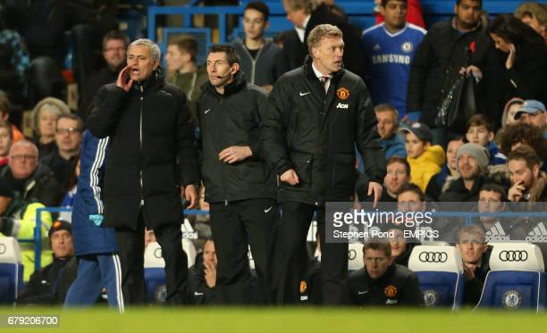 Chelsea's Manager Jose Mourinho and Manchester United's Manager David Moyes on the touchline