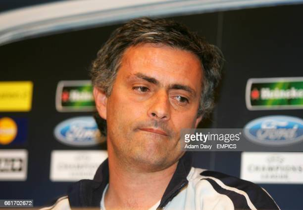 Chelsea's Manager Jose Mourinho gets annoyed at some question asked at the press conference