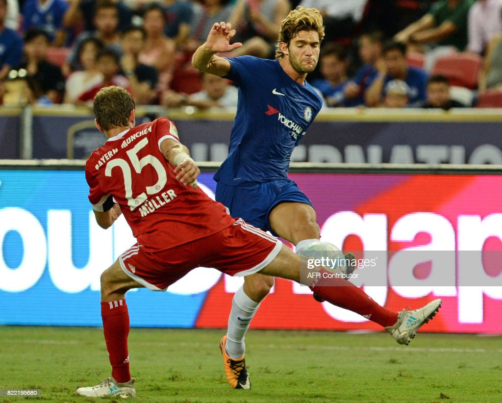 Chelsea s Marco Alonso R and Bayern Munich s Thomas Muller L