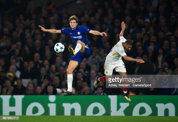 Chelsea's Marcos Alonso battles for possession with Roma's Bruno Peres during the UEFA Champions League group C match between Chelsea FC and AS Roma...