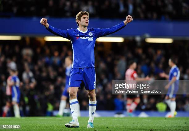 Chelsea's Marcos Alonso celebrates at the final whistle after the 42 victory over Southampton at Stamford Bridge on April 25 2017 in London England