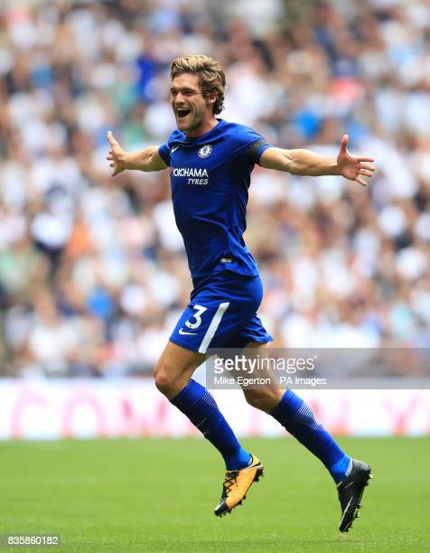 Chelsea's Marcos Alonso celebrates scoring his side's first goal of the game during the Premier League match at Wembley Stadium London