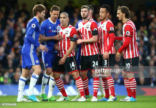 LR Chelsea's Marcos Alonso Chelsea's Nemanja Matic Southampton's Oriol Romeu Southampton's Jack Stephens Southampton's Maya Yoshida and Southampton's...