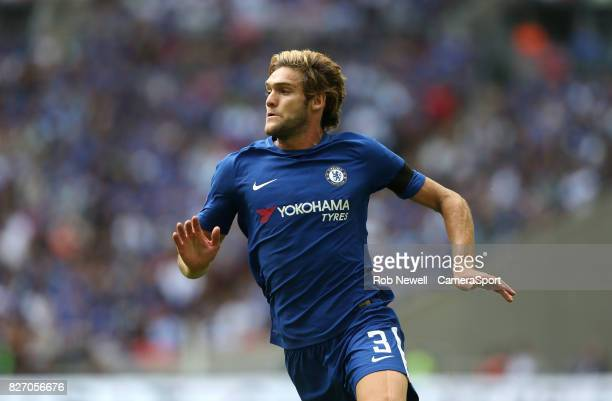 Chelsea's Marcos Alonso during the FA Community Shield match between Arsenal and Chelsea at Wembley Stadium on August 6 2017 in London England