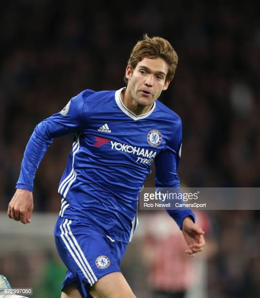 Chelsea's Marcos Alonso during the Premier League match between Chelsea and Southampton at Stamford Bridge on April 25 2017 in London England