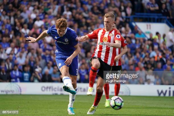 Chelsea's Marcos Alonso during the Premier League match between Chelsea and Sunderland at Stamford Bridge on May 21 2017 in London England
