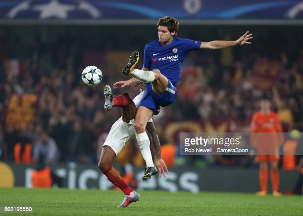 Chelsea's Marcos Alonso during the UEFA Champions League group C match between Chelsea FC and AS Roma at Stamford Bridge on October 18 2017 in London...
