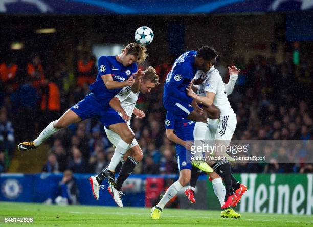 Chelsea's Marcos Alonso in action during the UEFA Champions League group C match between Chelsea FC and Qarabag FK at Stamford Bridge on September 12...