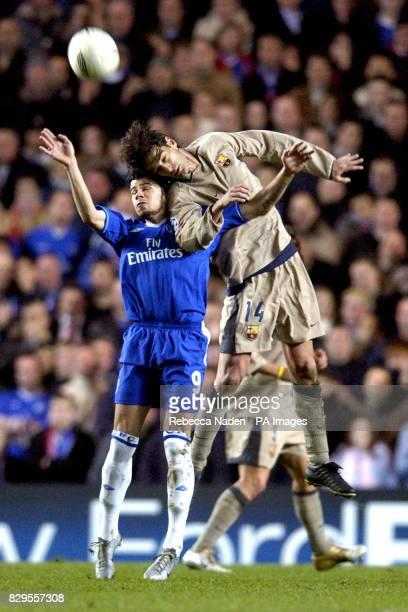 Chelsea's Marteja Kezman and Barcelona's Gerard battle for the ball