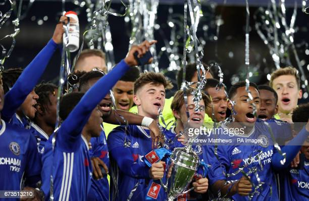 Chelsea's Mason Mount celebrates with his team mates as they hold aloft the FA Youth Cup after the FA Youth Cup Final Second Leg match at Stamford...