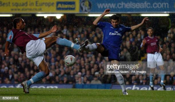Chelsea's Mateja Kezman and West Ham's Rufus Brevett clash during the match at the Stamford Bridge west London THIS PICTURE CAN ONLY BE USED WITHIN...