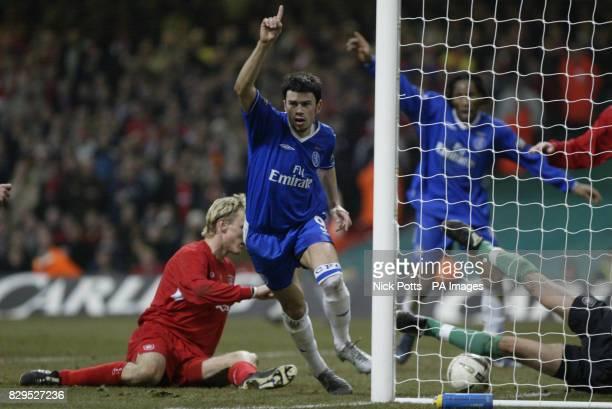 Chelsea's Mateja Kezman celebrates after scoring against Liverpool