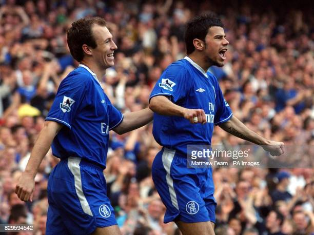 Chelsea's Mateja Kezman celebrates with teammate Arjen Robben after scoring against Crystal Palace