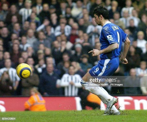 Chelsea's Mateja Kezman scores the fourth goal from the penalty spot against Newcastle United during the Barclays Premiership match at Stamford...