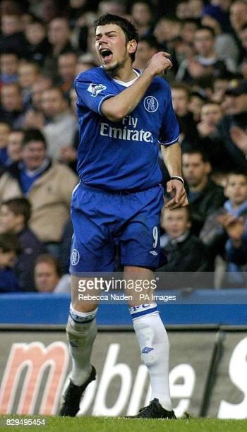 Chelsea's Mateja Kezman show his frustration after having a shot saved by Manchester City goalkeeper David James