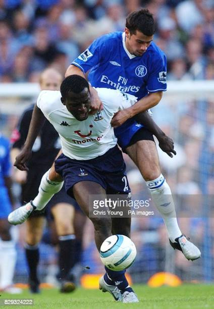 Chelsea's Mateja Kezman tussles with Tottenham's Timothee Atouba during their Barclays Premiership match at Stamford Bridge west London THIS PICTURE...