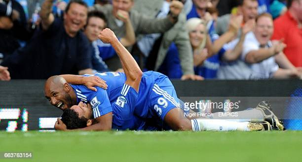 Chelsea's Michael Ballack celebrates scoring his sides second goal of the game with teammate Nicolas Anelka