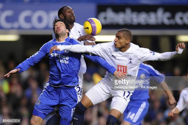 Chelsea's Michael Ballack is challenged by Tottenham Hotspur's Ledley King and Kevin PrinceBoateng as they battle for the ball