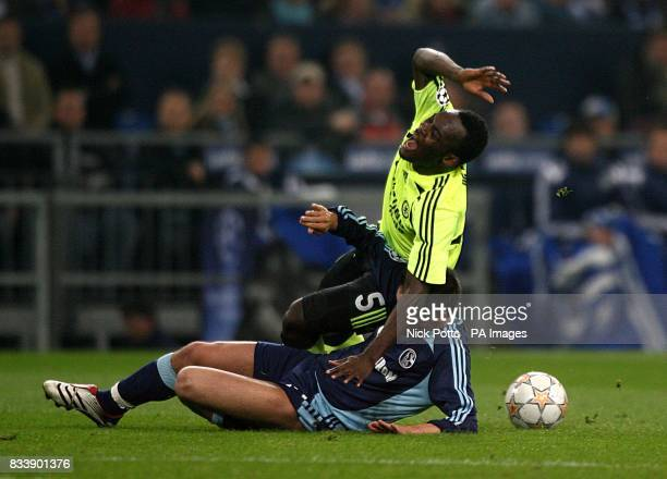 Chelsea's Michael Essien is tackled by Schalke 04's Zlatan Bajramovic