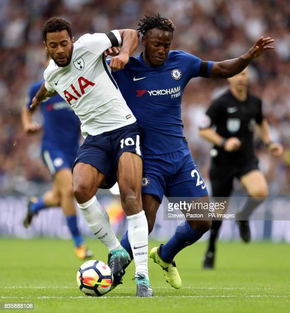 Chelsea's Michy Batshuayi and Tottenham Hotspur's Mousa Dembele battle for the ball during the Premier League match at Wembley Stadium London