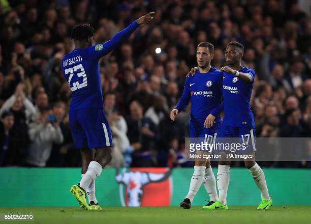 Chelsea's Michy Batshuayi celebrates scoring his side's fourth goal of the game during the Carabao Cup Third Round match at Stamford Bridge London