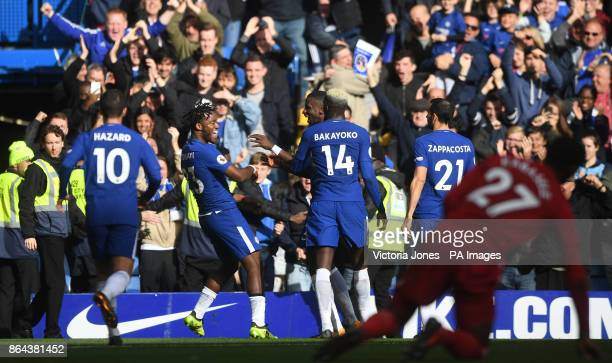 Chelsea's Michy Batshuayi celebrates scoring his side's fourth goal of the game with teammates during the Premier League match at Stamford Bridge...