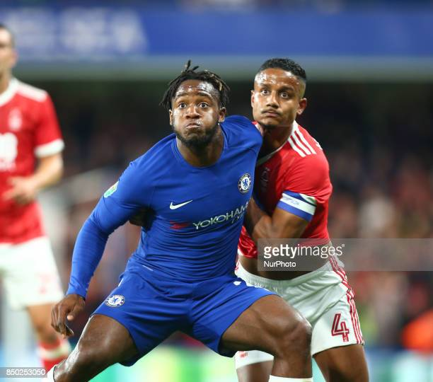 Chelsea's Michy Batshuayi holds of Nottingham Forest's Michael Mancienne during Carabao Cup 3rd Round match between Chelsea and Nottingham Forest at...