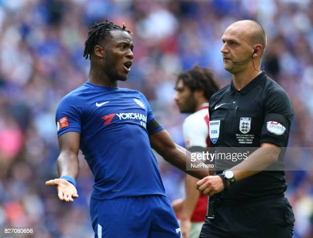 Chelsea's Michy Batshuayi not happy with Referee during the The FA Community Shield match between Arsenal and Chelsea at Wembley stadium London...