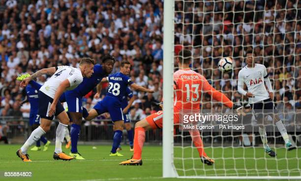 Chelsea's Michy Batshuayi scores an own goal for Tottenham's first goal of the game during the Premier League match at Wembley Stadium London