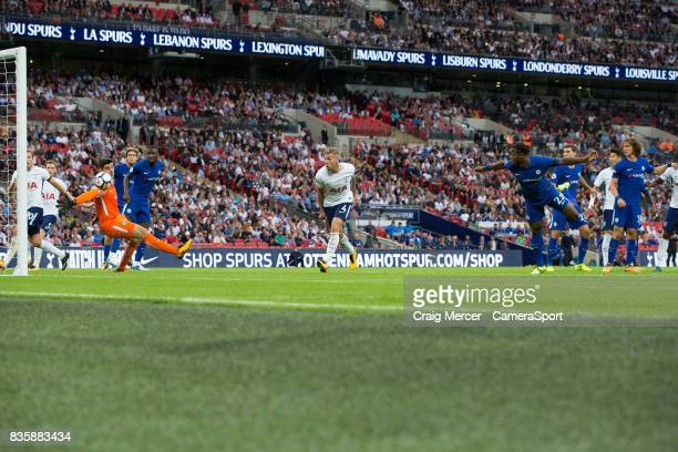 Chelsea's Michy Batshuayi turns the ball into his own net to make the score 11 during the Premier League match between Tottenham Hotspur and Chelsea...