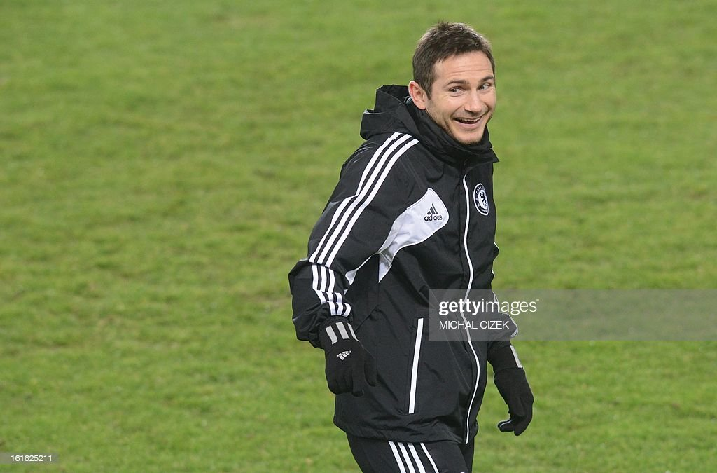 Chelsea's midfielder Frank Lampard reacts during a training session at the Letna Stadium in Prague on February 13, 2013. Sparta Prague will play vs FC Chelsea in a Europaleague football match on February 14, 2013 in Prague.