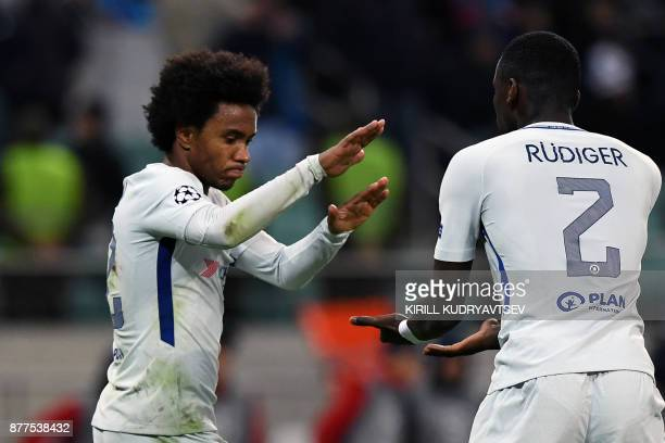 Chelsea's midfielder from Brazil Willian celebrates after scoring a goal during the UEFA Champions League Group C football match between Qarabag FK...