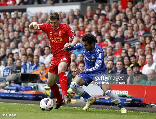 Chelsea's Mohamed Salah and Liverpool's Jon Flanagan battle for the ball