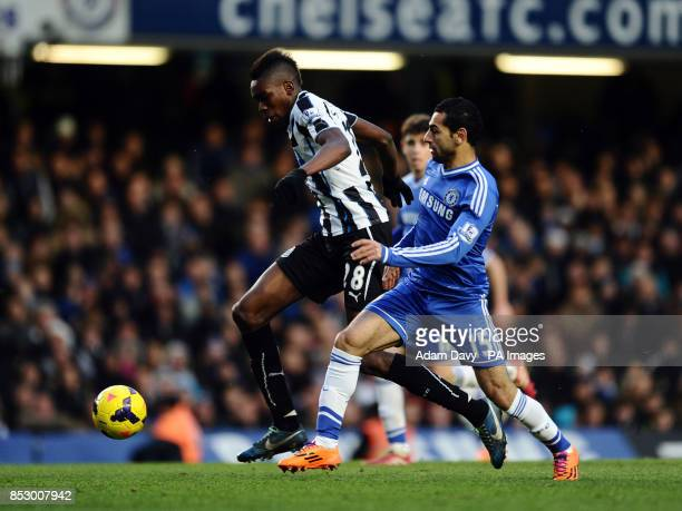 Chelsea's Mohamed Salah and Newcastle United's Sammy Ameobi during the Barclays Premier League match at Stamford Bridge London