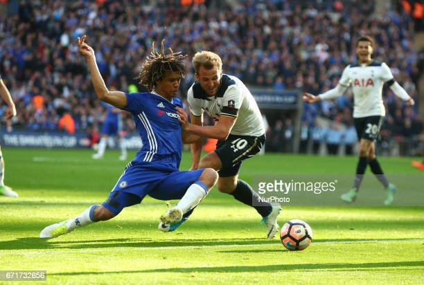 Chelsea's Nathan Ake holds of Tottenham Hotspur's Harry Kane during The Emirates FA Cup SemiFinal match between Chelsea and Tottenham Hotspur at...