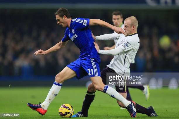 Chelsea's Nemanja Matic and Everton's Steven Naismith battle for the ball
