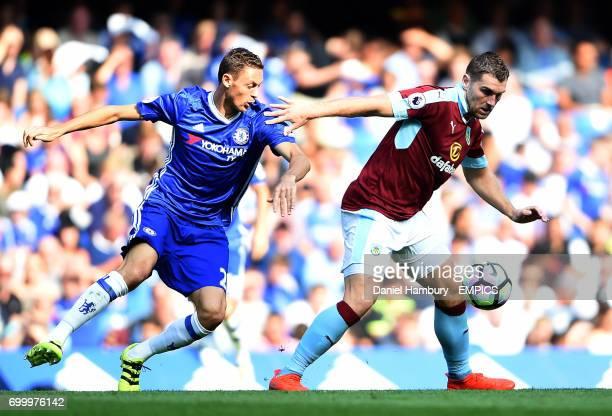 Chelsea's Nemanja Matic chases Burnley's Sam Vokes
